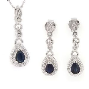 Jewelry - Jewelry Set Sapphire & Sterling Silver NWOT